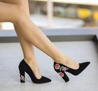 pantofi cu toc gros din piele intoarsa eleganti