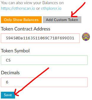 how to add custom token into myetherwallet mew