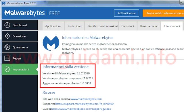 Scheda Informazioni versione Malwarebytes