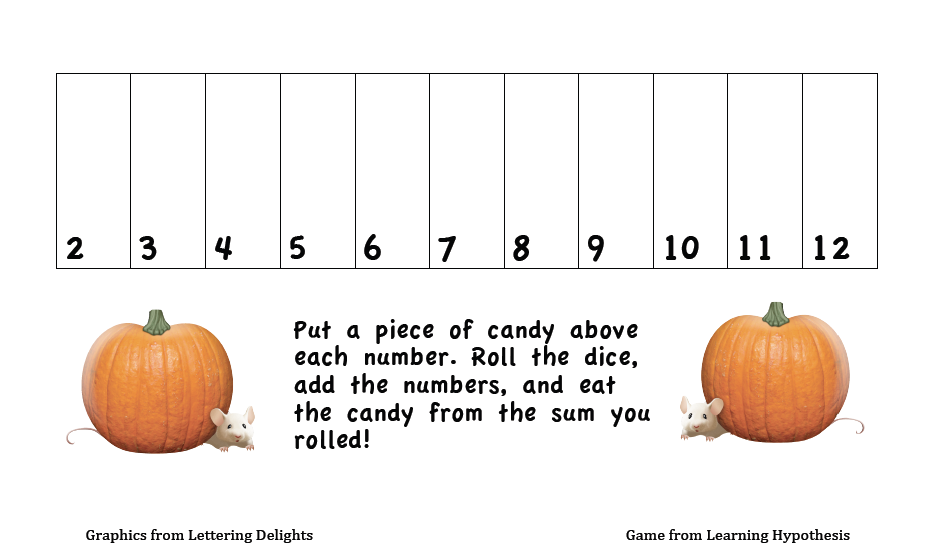 Free pumpkin game to practice addition to 12