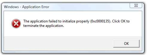 """The application failed to initialize properly (0xc0000135). Click on OK to terminate the application"""