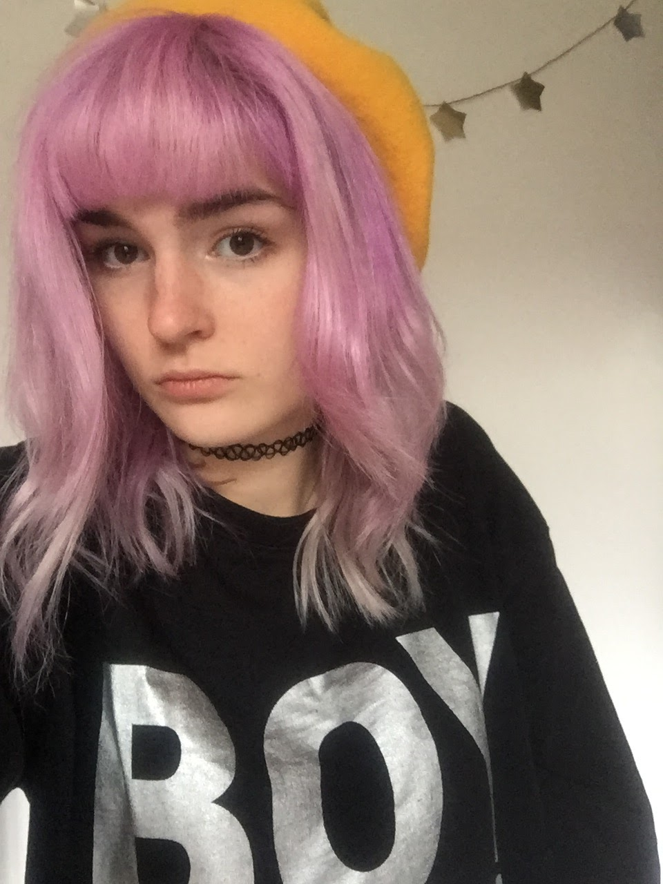 girl with hair dyed with directions lavender