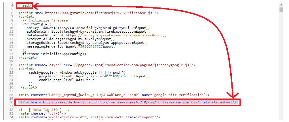 Copy the above code below <head>