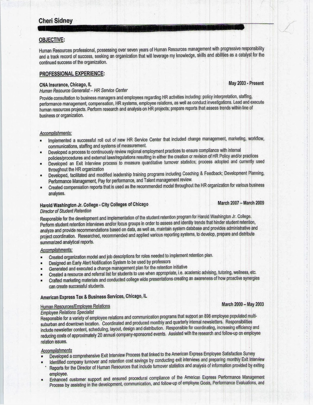 human voice resume examples