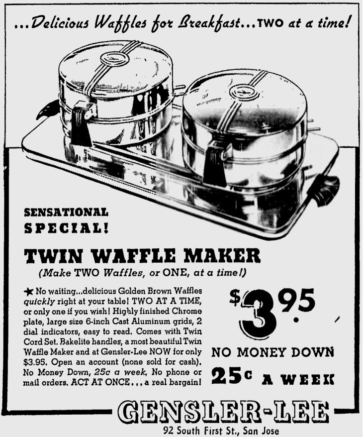The Waffle Makers: 1941 ad for twin waffle maker