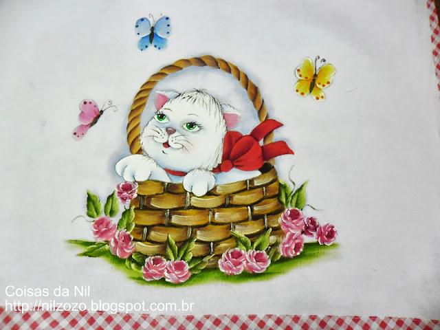 pintura em tecido gatinha na cesta