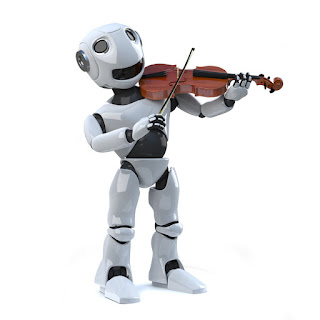 Pic of white modern robot playing the violin