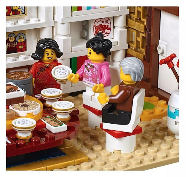 Chinese New Year Eve Dinner LEGO Sets Eat Rice