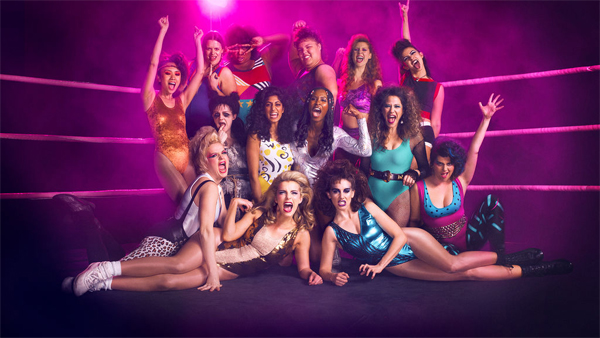 image of the cast of GLOW, a show about the 1980s wrestling show Gorgeous Ladies of Wrestling