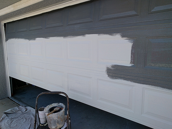 This Door Has The Dreaded Window Row At The Top. It Typically Adds 4 5  Hours More To Painting The Garage Door Like Wood To Have To Deal With The  Window ...