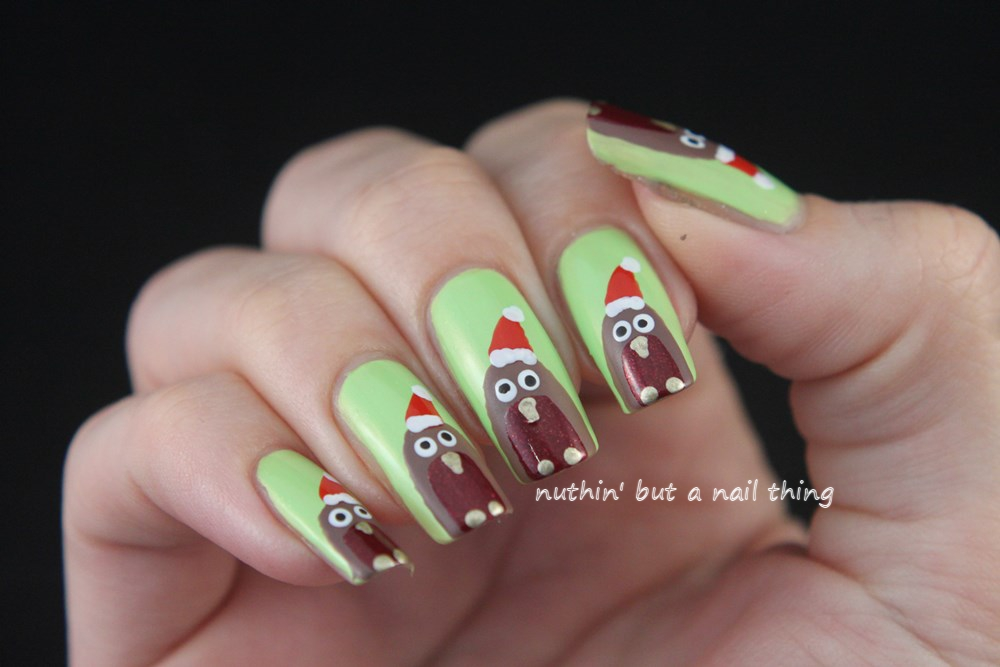 christmas robin nail art tutorial design ideas