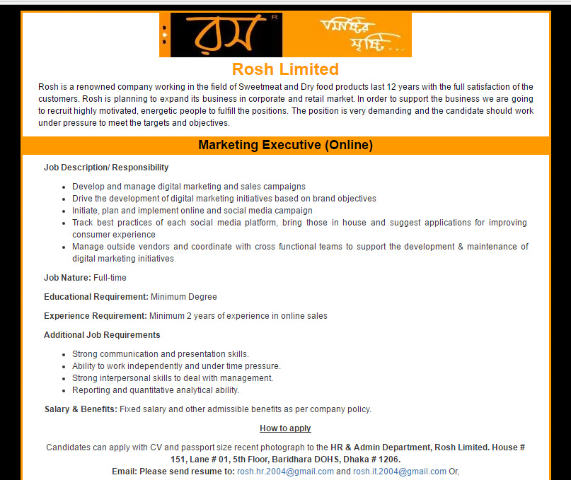 Rosh Limited - Position: Marketing Executive (Online) - Jobs