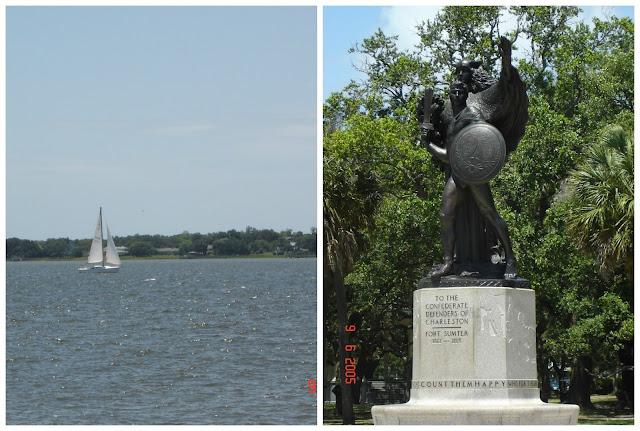 passeio de barco e estátua em homenagens aos soldados confederados em Charleston