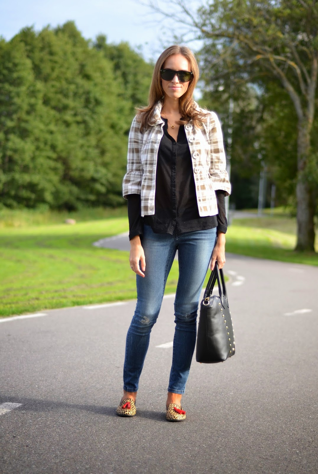 fall outfit peplum jacket button shirt blue jeans