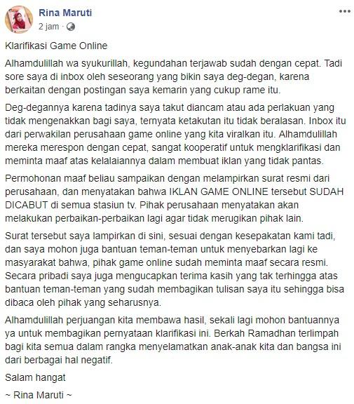 Klarifikasi Game Online Hago dalam Status Rina Maruti