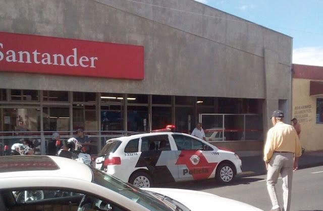 Quadrilha tenta assaltar agência do banco Santander de Olímpia
