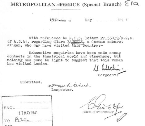 May 15, 1941 - KV 2/25 - 81a - Special Branch Report to MI5 re: no hits on Clara Bauerle.