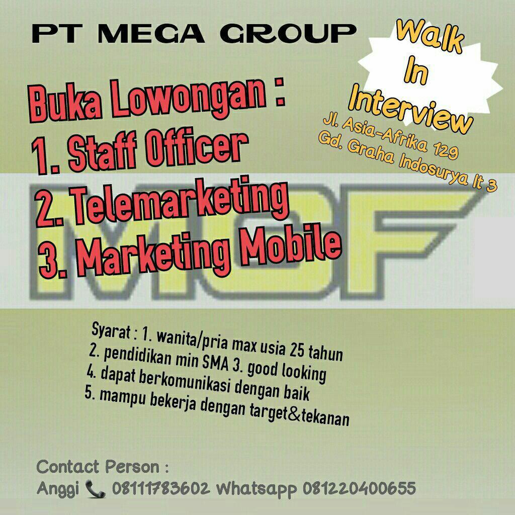 Lowongan Kerja PT, Mega Group Juli 2017