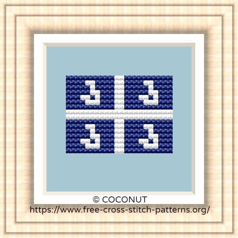 NATIONAL FLAG OF MARTINIQUE CROSS STITCH CHART