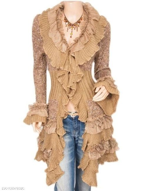 Plain Falbala Sweet Ruffled Cardigan - FashionMia Special Price:US$34.95