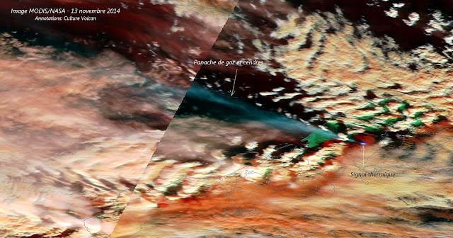 Eruption du volcan Pavlof vue depuis l'espace, 13 novembre 2014