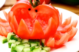 Art In Tomato Swans | Tomato Basket | Fruit & Vegetable Carving Lessons