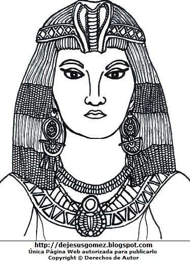 Imagen de Cleopatra para colorear, pintar o imprimir. Dibujo de Cleopatra de Jesus Gómez