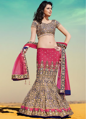 Latest-indian-bridal-lehenga-sarees-2017-with-new-blouse-designs-8