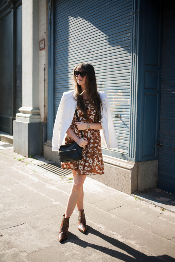 Outfit: off shoulder floral dress, snakeskin boots