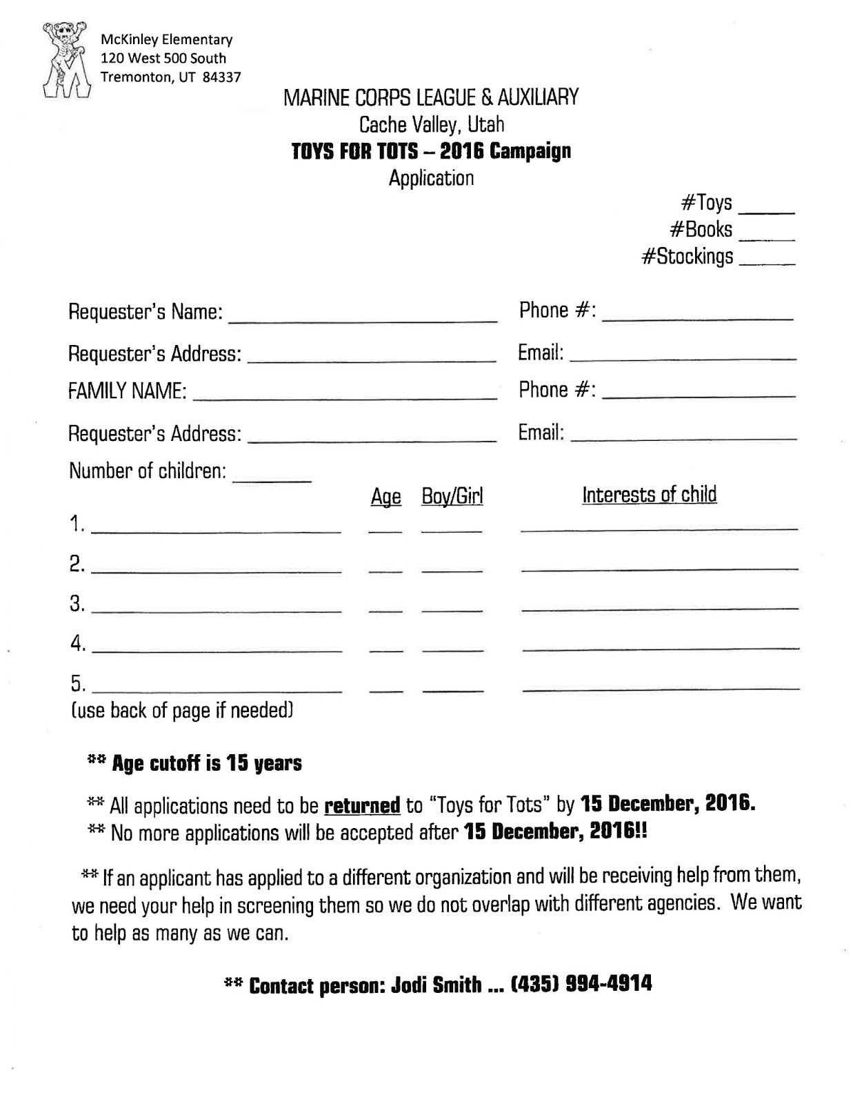 Organization For Toys For Tots Application Form : Mckinley elementary cougars toys tots