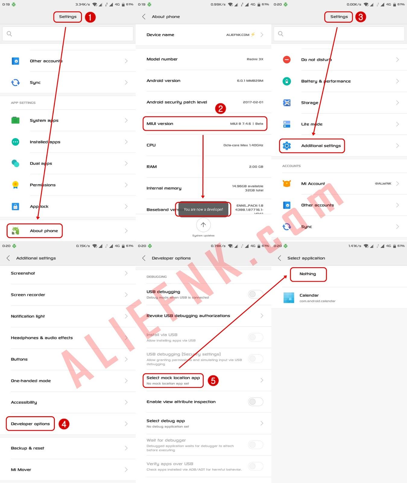 Pengaturan Lokasi Palsu Xiaomi MIUI 8 [image by ALIEFNK.com | @ALiefNK]