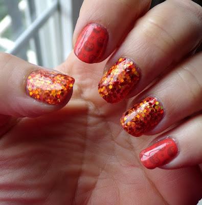 #manicura naranja con glitter