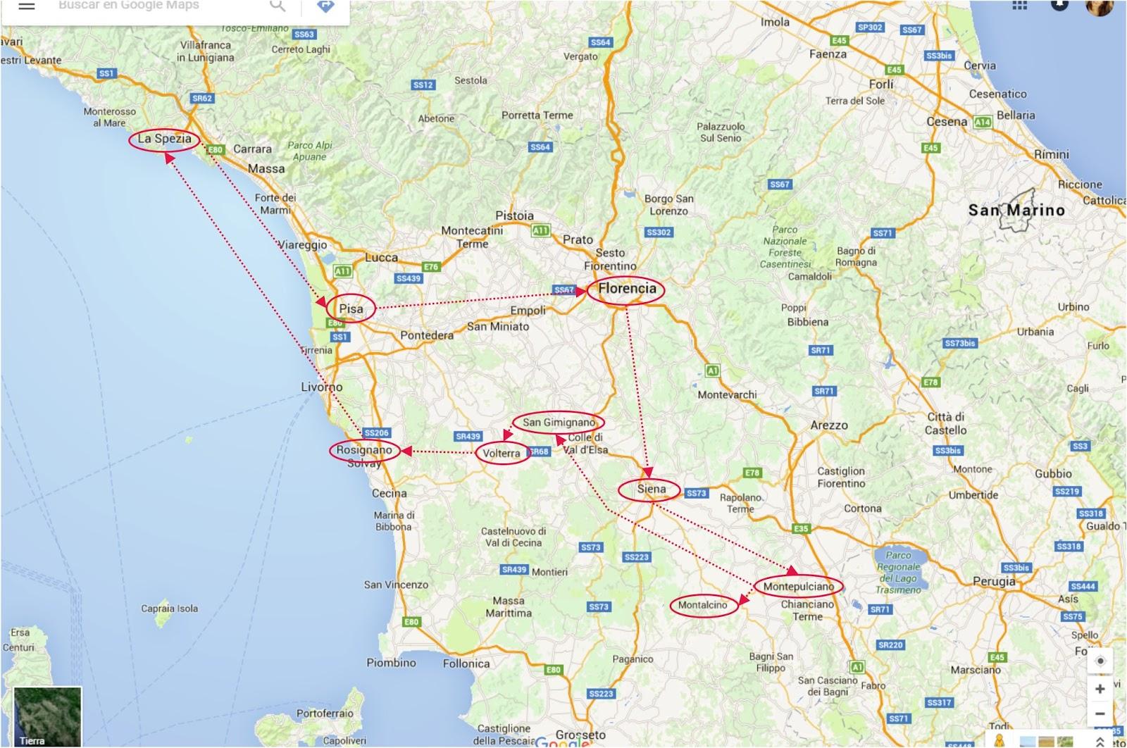 Mapa De La Toscana Y Sus Pueblos.La Toscana Y Cinque Terre En 10 Dias Descubre La Toscana