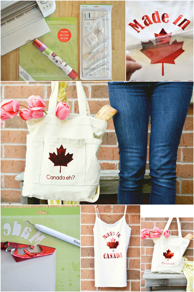 How to make a pretty Canada-inspired tank and tote bag with Cricut foil iron-on for Victoria Day or Canada