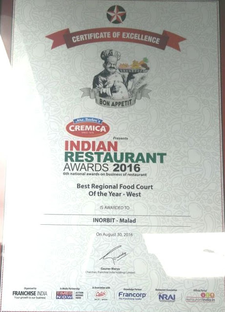 INORBIT MALL, MALAD WINS BEST REGIONAL FOOD COURT OF THE YEAR