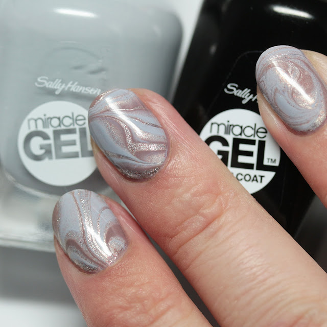 Sally Hansen Complete Salon Manicure and Miracle Gel water marble nail art