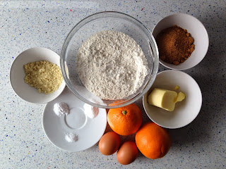 Ingredientes muffins de naranja y almendras