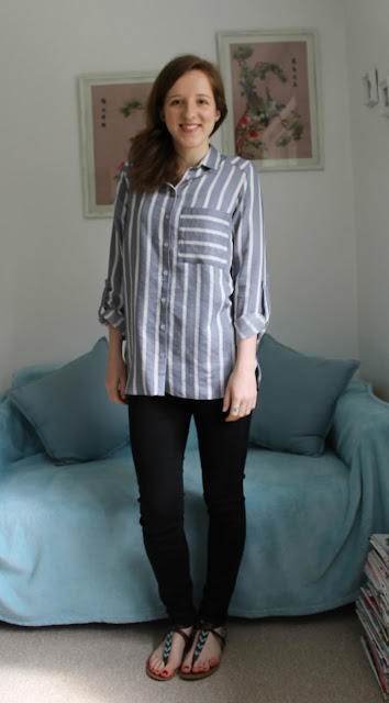 OOTD, outfit, outfit of the day, primark, stripey shirt, striped shirt, casual shirt, denim, denim jacket, black skinny jeans, black high waisted jeans, ASOS, accessorize, accessorize backpack, forever 21, forever 21 sandals