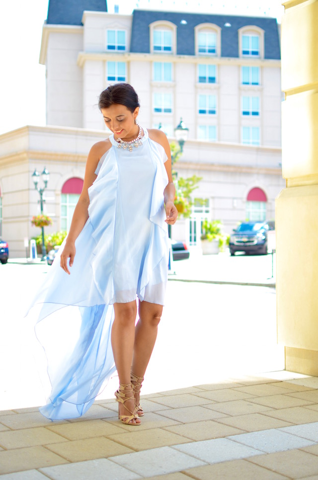 baby blue dress- maxi collar -mariestilo