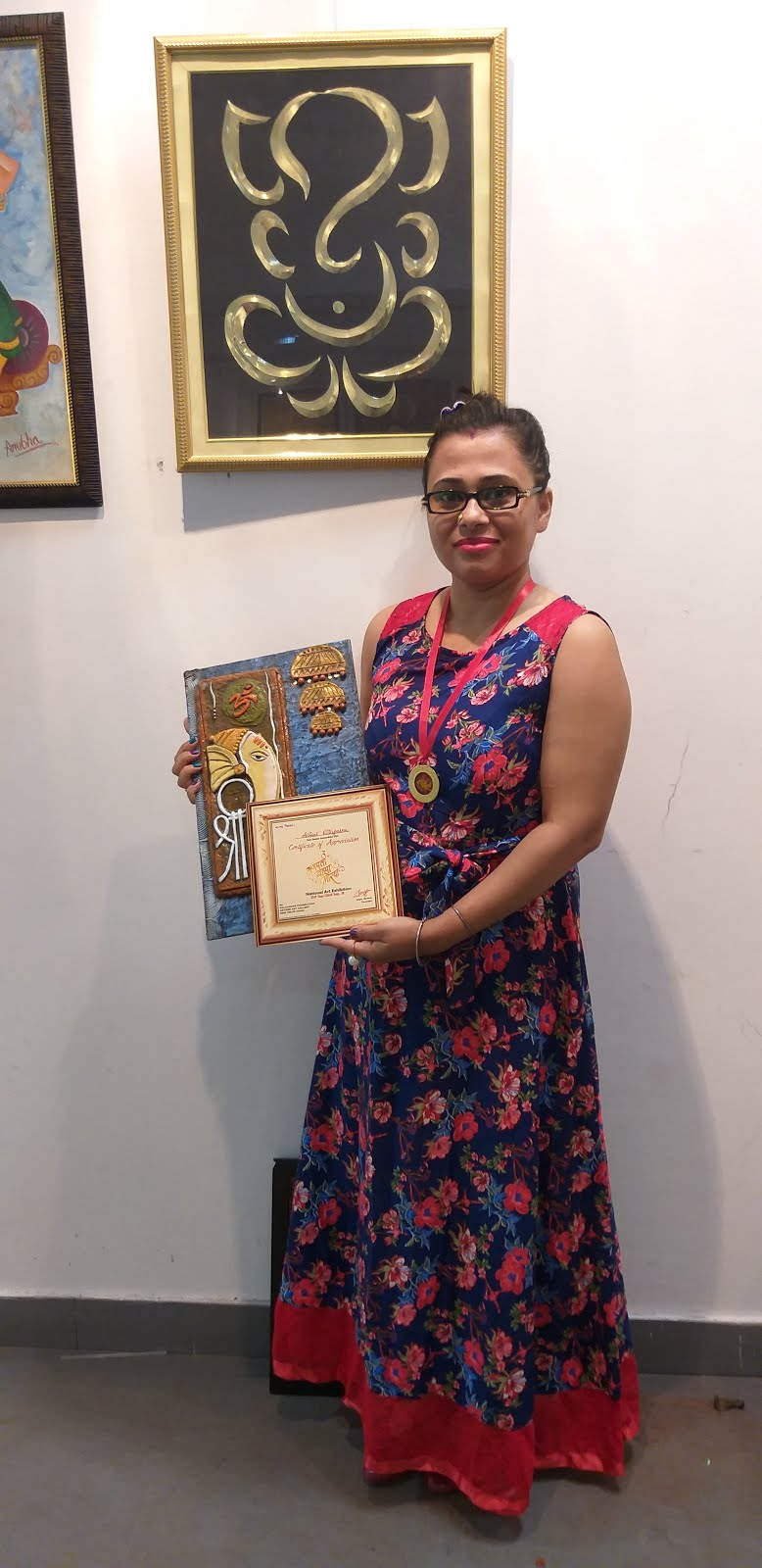 Certified and getting medal for first exhibite my paintings at Artizen Art Gallery