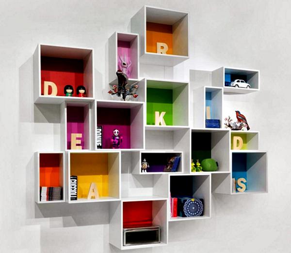 Kumpulan Gambar Rak Buku Dinding Minimalis Kreatif Dan Modern - Kotak-Kotak Acak