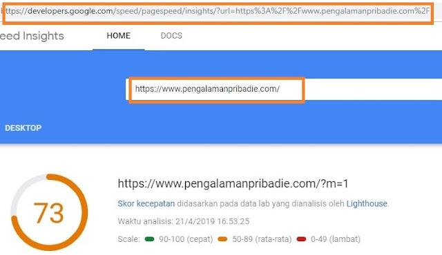 Indikator PageSpeed Insights setelah kompres CSS