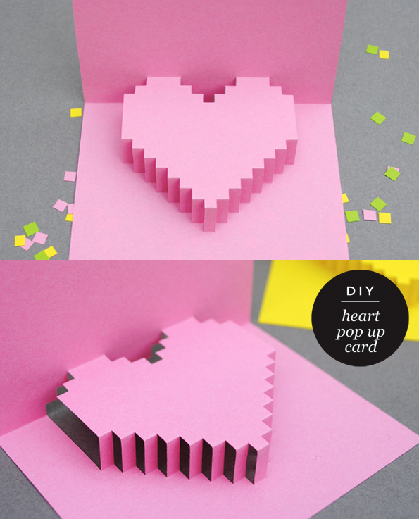 Pixelated Popup Card Valentine day cards Valentines and