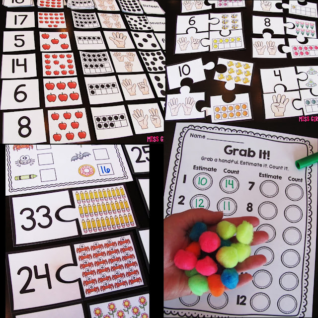 Counting practice activities and so many learning numbers games for kindergarten or first grade to build number sense with fun literacy centers