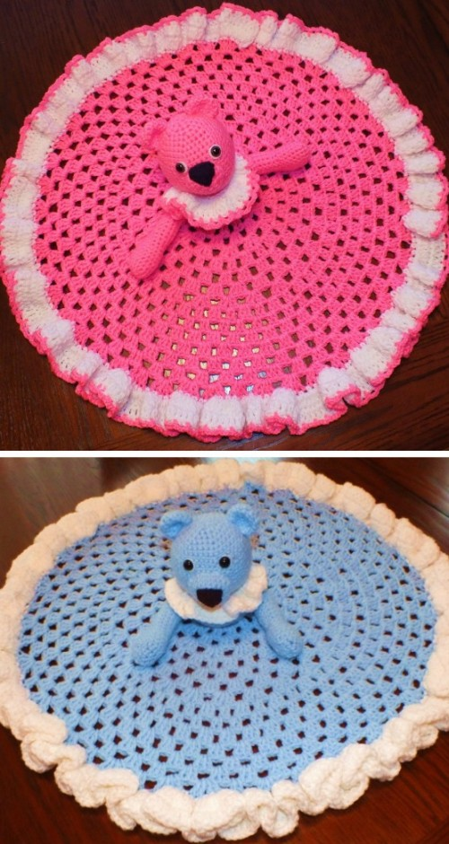 Teddy Bear Granny Circle Security Blanket - Free Pattern