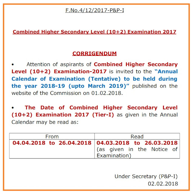 Error in SSC CHSL Exam Date & Calendar