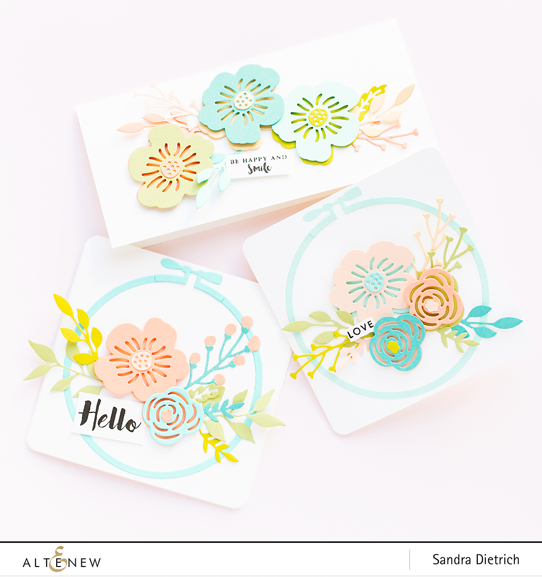 Altenew | Spring Cardmaking | Layered Floral Elements Die | Three Cards