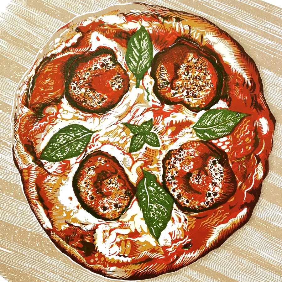 Pepperoni pizza linocut