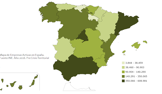 Mapa de empresas por comunidad autónoma, Mapa de empresas españa, 2017, knowmadrid, francisco javier tapia lobo