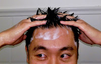 handsome American Chinese Asian boy shampoo black hair shower bubbles
